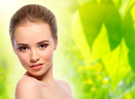 blonde girls: Young healthy girl on floral spring background