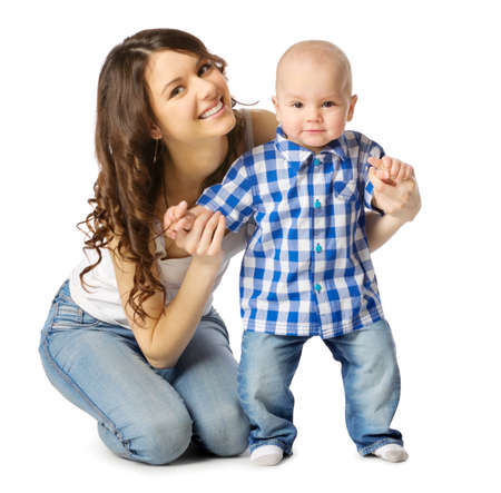 baby isolated: Young mother with her son isolated