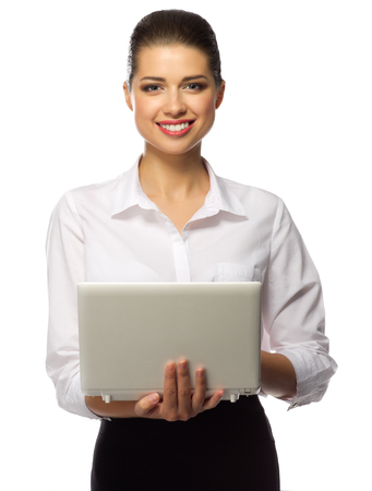 attractive  female: Young businesswoman with laptop isolated Stock Photo