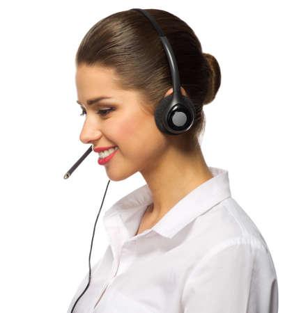 Customer service operator isolated on white Stock Photo
