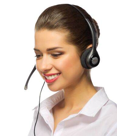 handsfree telephone: Young tech support worker isolated
