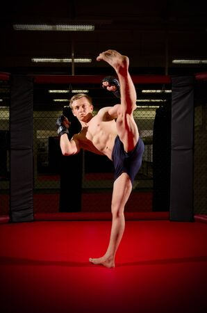 sports hall: Young kickboxer in sports hall