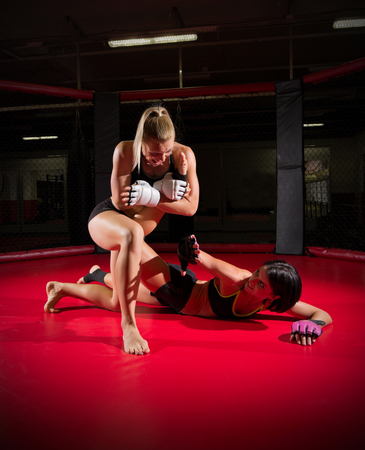 Two wrestler women in sports hall Stock Photo