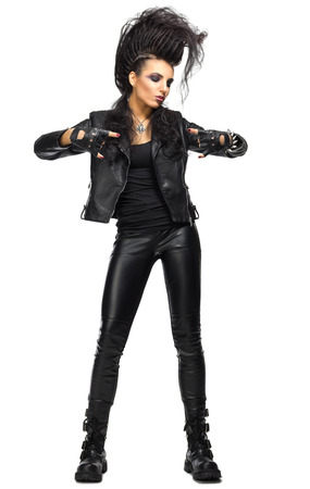 Young woman rock musician isolated Stock Photo