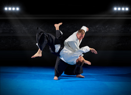 Martial arts fighters in sports hall Stock Photo