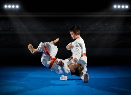 rostrum: Little boys martial arts fighters at sports hall Stock Photo