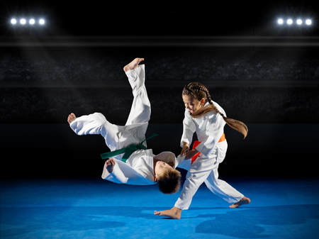 Little children martial arts fighters at sports hall