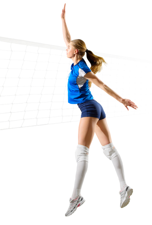 Young woman voleyball player isolated (with net ver)
