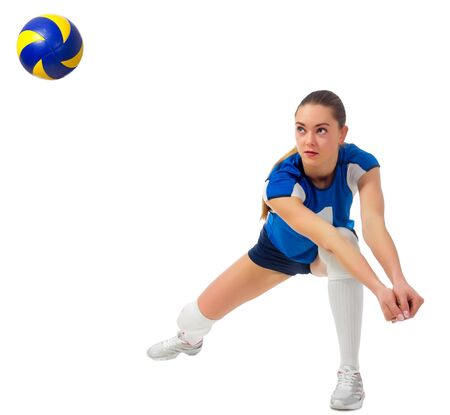 Young woman voleyball player isolated (with ball ver) Stock Photo