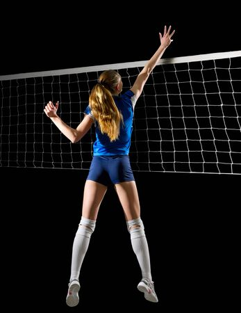 Young woman volleyball player (ver with net)