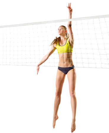 Jeune joueur de volleyball isolé (version avec net) Banque d'images - 81291053