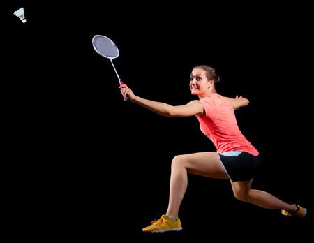 Jonge vrouw badminton-speler Stockfoto