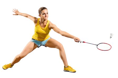 Young woman badminton player isolated Stock Photo