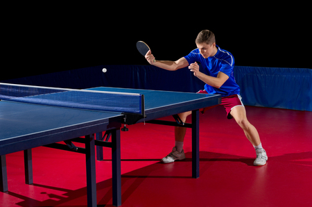 Young man table tennis player isolated Stock Photo