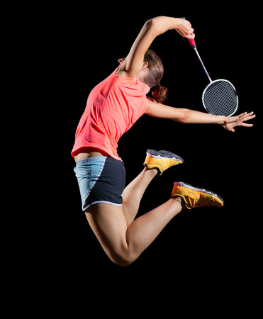 Young woman badminton player (version without shuttlecock)