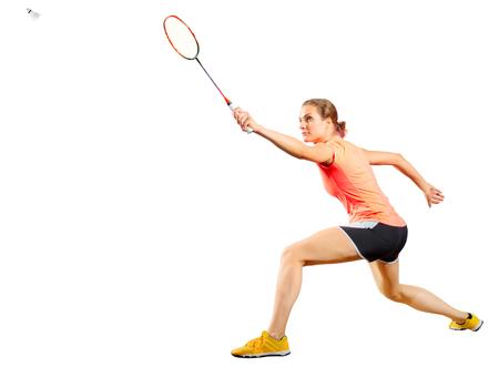 若い女性バドミントン選手 (羽根とバージョン)