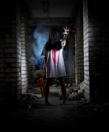 puppets: Zombie girl in old dirty house Stock Photo