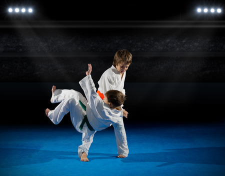 rostrum: Boys martial arts fighters at sports hall