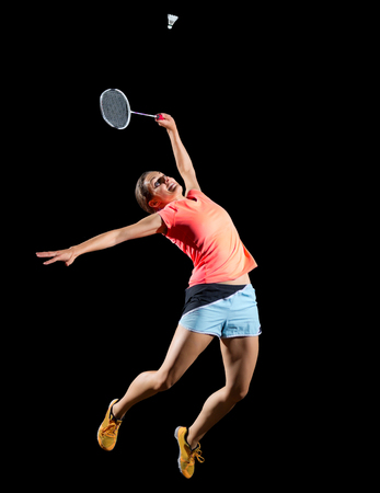 Young woman badminton player (with shuttlecock ver) Stock Photo