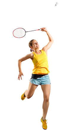 shuttlecock: Young woman badminton player (with shuttlecock ver) Stock Photo