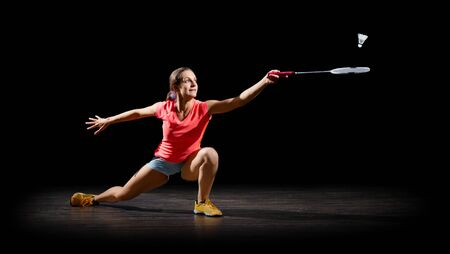 Young woman badminton player (half-isolated ver)