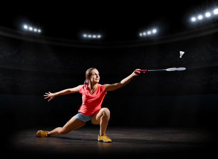 Young woman badminton player (sports hall ver)
