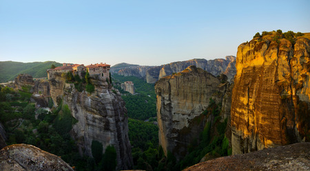 monastic: Meteora mountains at early morning on summer