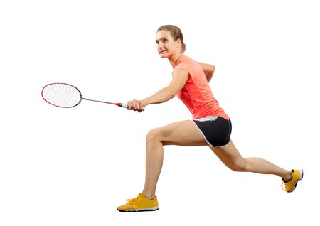Young woman badminton player isolated (ver without shuttlecock) Stock Photo