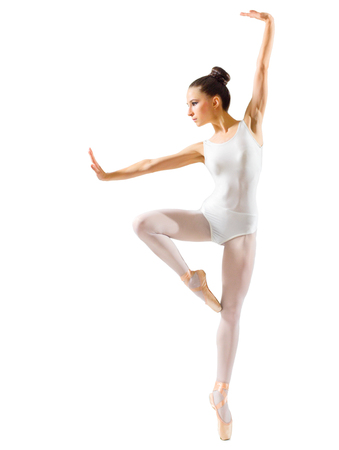 Young ballerina (isolated on white version) Stock Photo