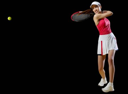 Young woman tennis player isolated (with ball ver)