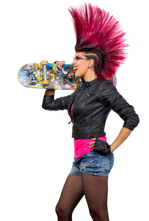 Young punk girl isolated on white Stock Photo