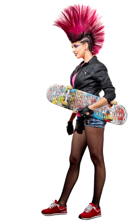 Young punk girl isolated on white Stok Fotoğraf
