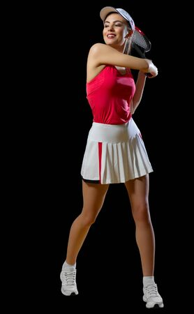 Young woman tennis player isolated (without ball ver) Stock Photo