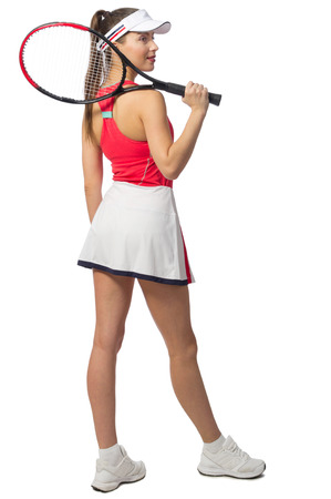 Young woman tennis player isolated Stock Photo