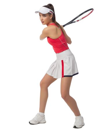 Young woman tennis player isolated (without ball version) Foto de archivo - 96935970