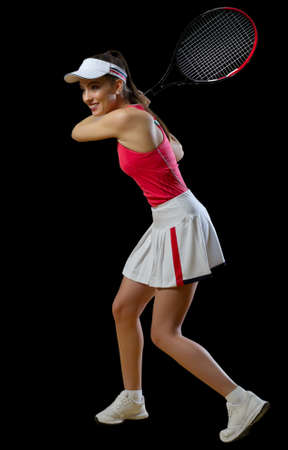 Young woman tennis player isolated (ver without ball)