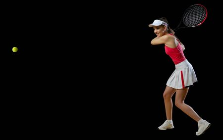 Young woman tennis player isolated (ver with ball)