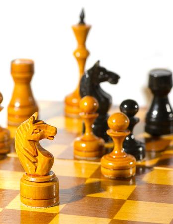 Chess pieces on white background Stock Photo