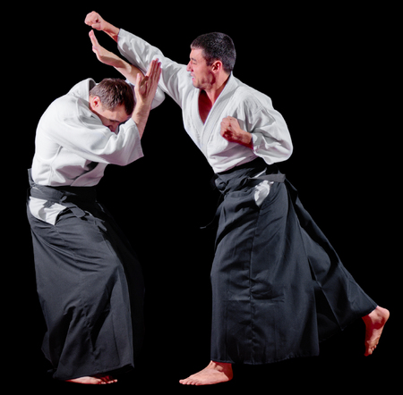 Two martial arts fighters isolated Stock Photo