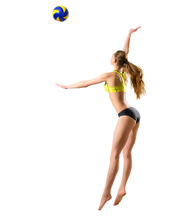 Young woman beach volleyball player (ver with ball) Stock Photo