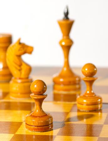 Chess pieces on white background Stockfoto