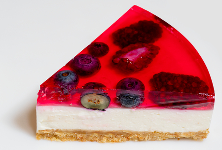 Red cheesecake with wild berries Stock Photo