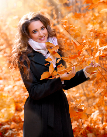 Young girl in sunny autumn forest Banque d'images