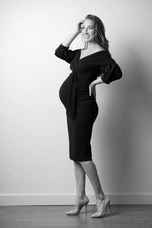 Young pregnant woman (monochrome version)