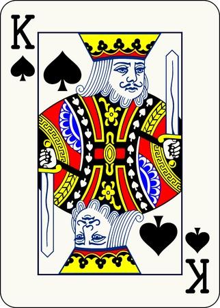 király: King of Spades, egyéni játékkártya - Egy elszigetelt vektoros illusztráció egy klasszikus arc kártyát