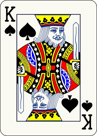 playing card: King of Spades, individual playing card - An isolated vector illustration of a classic face card  Illustration