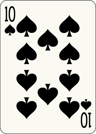 10 number: 10 of Spades, individual playing card - An isolated vector illustration of a number playing card