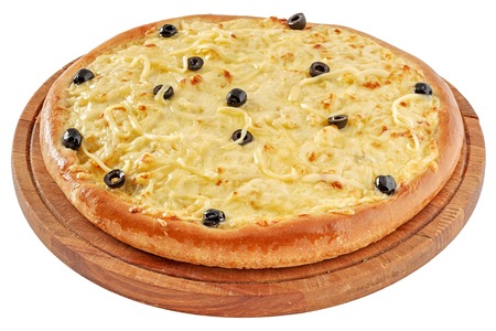 chicken fillet: Pizza with chicken fillet, cream cheese, olives Stock Photo