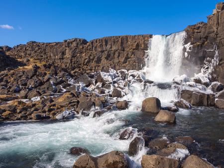 cascading: Cascading Waterfall at Thingvellir National Park
