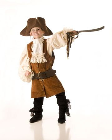Little girl dressed as pirate for  Stock Photo